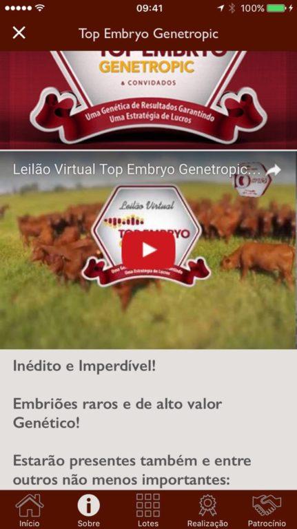 Vídeos promocionais do leilão no canal S+ do YouTube também são acessados via aplicativo.