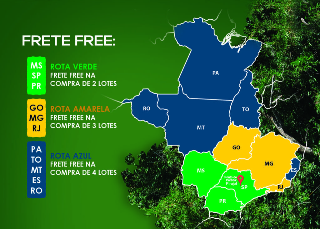 Mapa explica rota de frente grátis progressivo para o Leilão Grandes Famílias.
